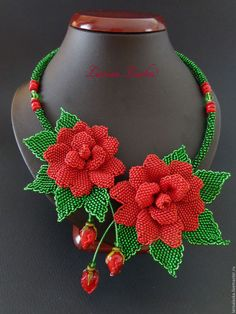 A brilliant and original handmade necklace that magnificently decorated with beaded flowers made of Czech, Japanese beads and faceted glass will be a great gift Beaded Jewelry Patterns, Beading Patterns, Flower Patterns, Seed Bead Flowers, Beaded Flowers, Seed Bead Jewelry, Bead Jewellery, Floral Necklace, Beaded Necklace