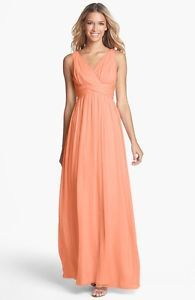 Donna Morgan 'Julie' Twist-Waist Silk Chiffon Gown wedding prom peach fuzz 2