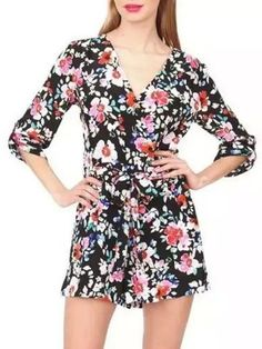 Fashionable Plunging Neck 3/4 Sleeve Floral Print Zippered Women's Romper
