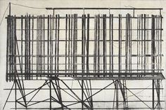 Jenny Robinson. Derelict Billboard, 2008. Drypoint and spitbite. Edition of 6. 16 x 24 inches.