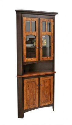 Amish Shaker 2-Door Corner Hutch | Corner hutch, Drawers and Doors