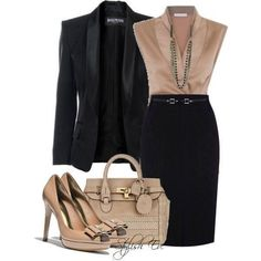 Need a classic black jacket and black pencil skirt with details.