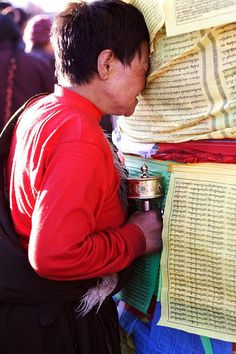 If you do not give rise to the four powers of devotion, toward the master, the buddha of the three times, the blessings of the wisdom mind transmission will not enter you, so diligently give rise to devotion. Dalai Lama, Prayer Flags, Tibetan Buddhism, World Religions, Lhasa, Serenity, Bhutan, Make A Wish, Tibet