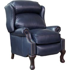 BarcaLounger Danbury ll Shoreham Blue Leather Recliner (curbside delivery) Leather Recliner Chair, Leather Chairs, Barcalounger, Leggett And Platt, Lift Recliners, Hardwood Plywood, Sofa Sale, Wing Chair