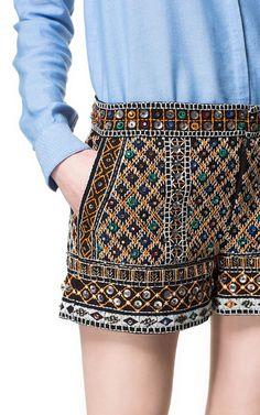 EMBROIDERED SHORTS WITH BEADING - Shorts - Woman - ZARA United States