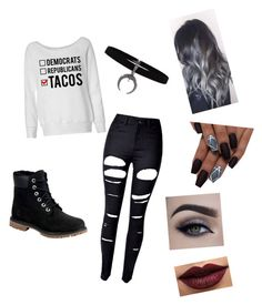 """""""Untitled #1"""" by squidwardlovesmusic ❤ liked on Polyvore featuring WithChic, Timberland and LASplash"""