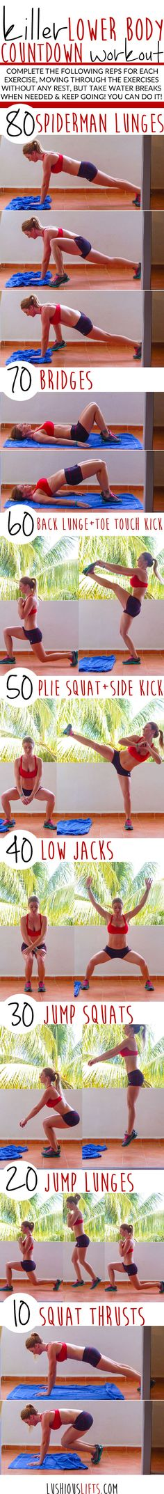 "Killer Lower Body Countdown Workout || <a href=""http://lushiousLIFTS.com"" rel=""nofollow"" target=""_blank"">lushiousLIFTS.com</a>"