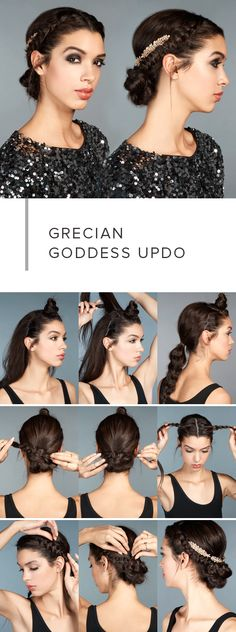 6 Party Hairstyles Nobody Can Ignore (Step by Step) - Fashion Array Greek Goddess Hairstyles, Grecian Hairstyles, Wedding Hairstyles, Easy Updos For Medium Hair, Medium Hair Styles, Curly Hair Styles, Holiday Hairstyles, Cool Hairstyles, Simple Party Hairstyles