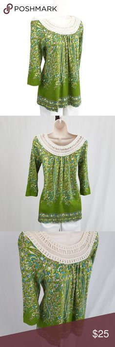 Anthropologie Earthly Delights top (runs small) Earthly Delights peasant top: three quarter sleeve crew neck top featuring an aqua blue, pale pink, and white floral &  paisley scrollwork pattern against an apple green background, accented by crochet lace at the neckline.  By Meadow Rue for Anthropologie.  Runs small; please see measurements.   Bust 17 / length 26 inches.  60% cotton, 40% modal. Anthropologie Tops
