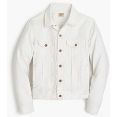 J.Crew Denim jacket in white ($118) ❤ liked on Polyvore featuring outerwear, jackets, mens white denim jacket, mens white jean jacket, mens white jacket and j crew mens jackets