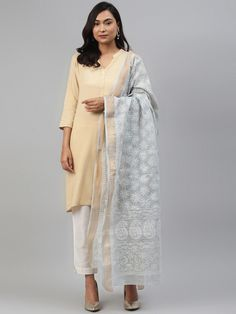 Ada Hand Embroidered Grey Kota Lucknowi Chikankari Dupatta- A511166 is the most comfortable and soft fabric texture. #Ada #Adachikan #Chikankari #Lucknowi #Handmbroidered #Dupatta #Kota #Grey