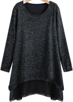 Contrast Chiffon Loose Black Dress 20.00