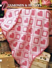 Diamonds & Hearts  Annie's Attic Crochet Afghan Pattern Instructions