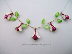 Necklace Wire flowers with nail polish