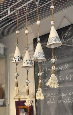 Porcelain Bell with Tassel by weepots on Etsy Mehrceramic bells with natural fibersA interesting way to use ceramic transfer papersmore wind chimes Ceramics Projects, Clay Projects, Clay Crafts, Slab Pottery, Ceramic Pottery, Pottery Mugs, Pottery Wheel, Pottery Bowls, Pottery Art