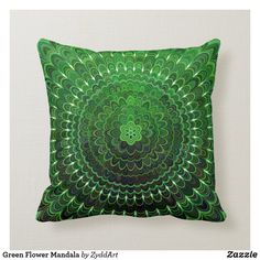 Green Flower Mandala Throw Pillow