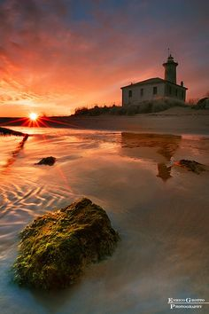 Sunset At The Lighthouse, Bibione - Italy
