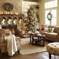 Cozy christmas, christmas room, christmas interiors, christmas time is here Christmas Interiors, Christmas Living Rooms, Christmas Room, Cozy Christmas, Country Christmas, Christmas Holidays, Xmas, Cottage Christmas, Christmas Stockings