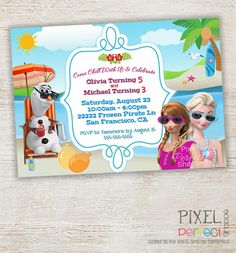 Frozen SUMMER Birthday Invitation Frozen by PixelPerfectShoppe