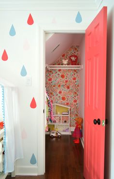 Wallflowers (aka: How To Cover A Wall With Fabric) | Young House Love.  I love the raindrops for a bathroom!!!!!