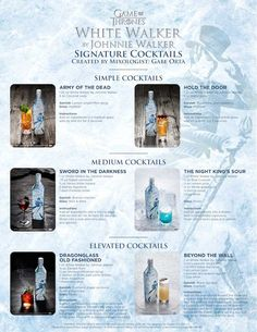 Earlier this year, Scotch whisky brand Johnnie Walker teased its Game of Thrones-inspired 'White Walker' special edition. Game Of Thrones Drink, Game Of Thrones Cocktails, Game Of Thrones Party, Johnnie Walker, Meyer Lemon Recipes, Bourbon Cocktails, Cocktail Recipes, Got Party, Alcohol Drink Recipes