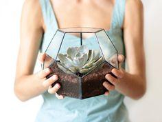 Geometric Glass Terrarium / Dodecahedron / Handmade Glass by Waen