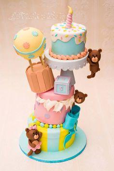 Gorgeous Cakes, Amazing Cakes, Fondant Cakes, Cupcake Cakes, Hot Air Balloon Cake, Jumping Clay, Gravity Cake, Teddy Bear Cakes, Baby Birthday Cakes