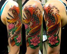 TOP 23 tattoos for men - 1991 - 1998 - Arm Tattoos Koi Fish, Koi Fish Tattoo Meaning, Arm Tattoos Music, Arm Tattoos For Guys, Koi Tattoo Sleeve, Best Sleeve Tattoos, Quarter Sleeve Tattoos, Half Sleeve Tattoos Designs, Goldfish Tattoo