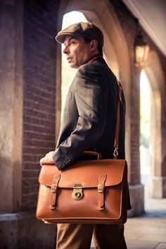 In a class of it's own, this is the ultimate English gentlemen's briefcase. Our best selling style - The Eton, handmade in traditional English bridle hide featuring a solid handmade brass lock, made in England. Connoisseurs of leather will really appreciate the natural patina that develops from the hide, becoming dramatically more beautiful over time. #bridlehide #lovesagebrown