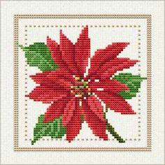 Red poinsettia cross stitch