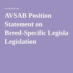 breed specific legislation thesis statement