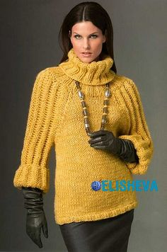 Trendy knitted sweater Descriptions of knitting Crochet Blouse, Knit Crochet, Knitting Stiches, Big Knits, Thick Sweaters, Yellow Sweater, Fashion Images, Knitting Designs, Sweater Shirt