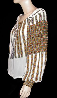 Romanian Embroidered & Beaded Gypsy Blouse