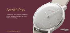 Activité POP sú elegantné ručičkové hodinky, ktoré majú niečo naviac. Ukrývajú monitor aktivity, ktorý komunikuje s aplikáciou Withings (iOS, Android) prostredníctvom Bluetooth 4.0. Aktuálny pokrok zobrazujú priamo na ciferníku. Ráno Vás zobudia jemnými vybráciami. Sú vodotesné do 50m a batéria vydrží až 8 mesiacov. Dostupné v 3 farbách: Shark Grey - šedá, Wild Sand - piesková a Bright Azure - modrá.