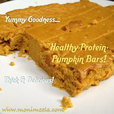 """Protein Packed Healthy Pumpkin Bars!"" Thick, delicious, EASY,  & great for a snack, fuel for a workout, dessert or even  breakfast! #recipe #healthy #treat #dessert"