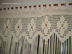 Netten Crochet Borders, Crochet Stitches Patterns, Filet Crochet, Stitch Patterns, Crochet Curtains, Crochet Doilies, Curtain Inspiration, Vintage Curtains, Beautiful Crochet