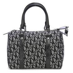 Christian Dior Black Diorrissimo Canvas Boston Handbag