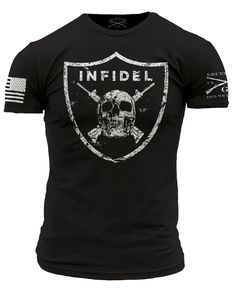 It doesn't matter if you are raiding villages or raiding an open bar this is the shirt to wear.  Grunt Style's Infidel shirt is a black t-shirt made of 100% ultra comfortable and soft cotton.  #america #thiswewilldefend