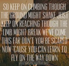 """""""So keep on climbing though the ground might shake, just keep on reaching though the limb might break. We've come this far, don't you be scared now cuz you can learn to fly on the way down."""" Fly Lyrics by Maddie and Tae"""