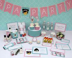 Spa Party Birthday Printable Collection & Invitation - Editable PDF file - Print at home