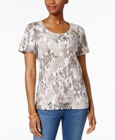 Karen Scott Print T-Shirt, Only at Macy's - Tan/Beige XXL