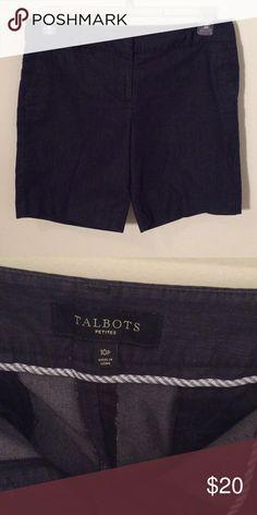 "Talbots dark denim shorts Dark wash, in like new condition. Size 10P, 10"" rise, 34"" hip, 8"" inseam. Talbots Shorts Jean Shorts"