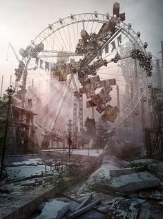 There's something very creepy about abandoned amusement parks. Abandoned Mansions, Abandoned Buildings, Abandoned Places, Abandoned Theme Parks, Abandoned Amusement Parks, Apocalypse Aesthetic, Apocalypse Art, Haunted Places, Creepy
