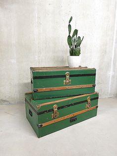 vintage koffer scheepskist industrieel, vintage travel trunk industrial