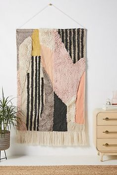 Apr 2020 - Nessa Wall Hanging by Anthropologie in Assorted, Decor Weaving Wall Hanging, Hanging Fabric, Tapestry Wall Hanging, Wall Hangings, Wall Fabric, Hanging Chair, Weaving Projects, Tapestry Weaving, Rug Hooking