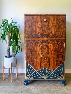 Geometric Furniture, Art Deco Furniture, Hand Painted Furniture, Upcycled Furniture, Unique Furniture, Home Furniture, Furniture Design, Walnut Bedroom Furniture, Patterned Furniture