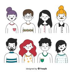 Discover thousands of free-copyright vectors on Freepik Doodle Drawings, Easy Drawings, Doodle Art, People Illustration, Character Illustration, Illustration Art, Cartoon Kunst, Cartoon Art, Persona Vector