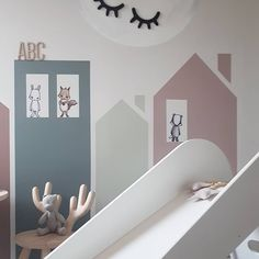 Kids living rooms - goodnight🌙 repost Need to clean the room before i can take new pictures 😅 Hopefully i will find some motivation soon 😆👍 nordickidsroom kidsroomdecor barnerom diy scandinaviansty Baby Room Diy, Baby Bedroom, Girls Bedroom, Modern Girls Rooms, Modern Kids Bedroom, Baby Decor, Kids Decor, Kids Living Rooms, Kids Room Murals