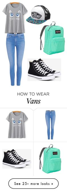 """School"" by catbasil on Polyvore featuring Paige Denim, Converse, Vans and JanSport"