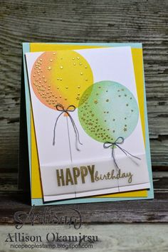 It's super easy to create these two tone balloons. Simply ink up the balloon with the lightest of your ink colours, then sponge on the darker colour, (but just on one side), and stamp it on your paper. Viola! Two tone balloons! - Allison Okamitsu